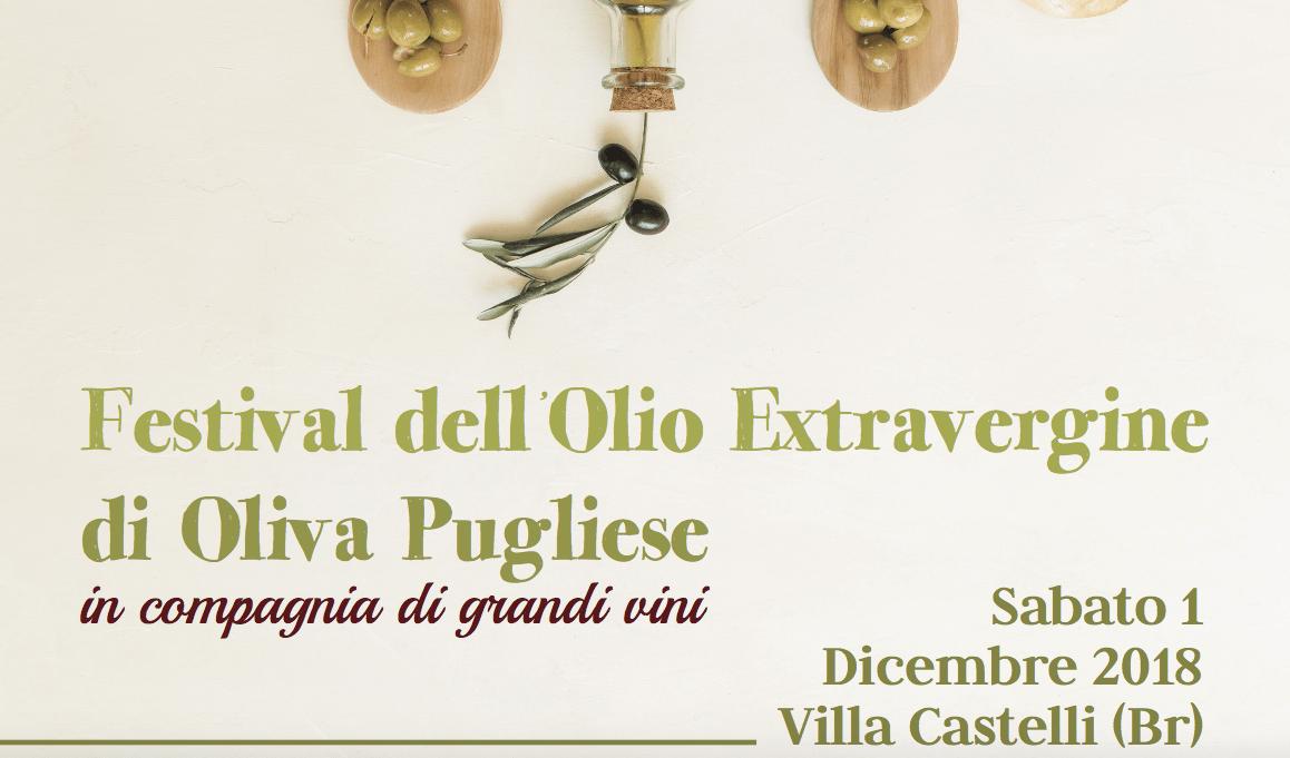 Festival dell'Olio Extravergine di Oliva Pugliese, sabato 1° dicembre a Villa Castelli con tavole rotonde e degustazioni